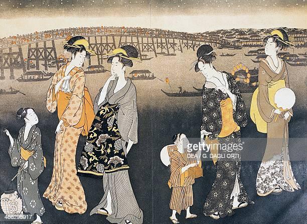 Night walk in the surroundings of Yedo The door of the estuary ukiyoe art print by Kitagawa Utamaro woodcut Japanese civilisation Edo period 17th19th...