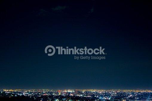 Night wide shot of Monterrey city, in Nuevo Leon, Mexico. : Stock Photo