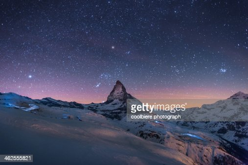 Night Winter landscape of Matterhorn