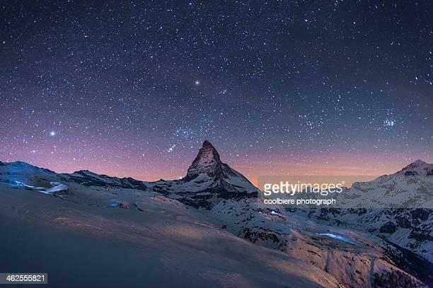 Night Winter landscape of Matterhorn