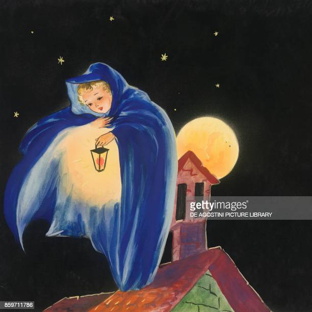 Night wrapping houses in its mantle children's illustration drawing