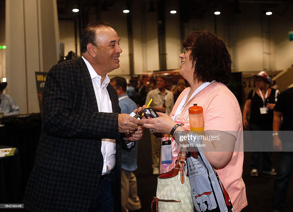 Nightclub & Bar Media Group President and host and Co-Executive Producer of the Spike television show 'Bar Rescue' <a gi-track='captionPersonalityLinkClicked' href=/galleries/search?phrase=Jon+Taffer&family=editorial&specificpeople=6833853 ng-click='$event.stopPropagation()'>Jon Taffer</a> (L) greets attendees during the 28th annual Nightclub & Bar Convention and Trade Show at the Las Vegas Convention Center on March 21, 2013 in Las Vegas, Nevada.