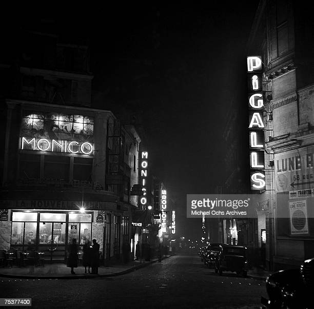 Nightclub exteriors on a foggy street at night on November 1 1948 in Paris France