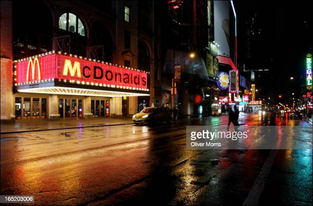 Nightitme view of a the neon marquee on a McDonald's fast food restaurant in Times Square New York New York December 25 2012