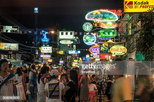 Nightlife On The Khao San Road In Bangkok, Thailand : Stock Photo