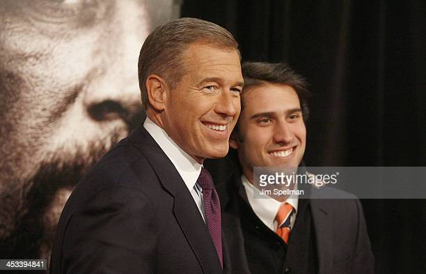 Nightly News Anchor Brian Williams and son Doug Williams attend the 'Lone Survivor' New York premiere at Ziegfeld Theater on December 3 2013 in New...