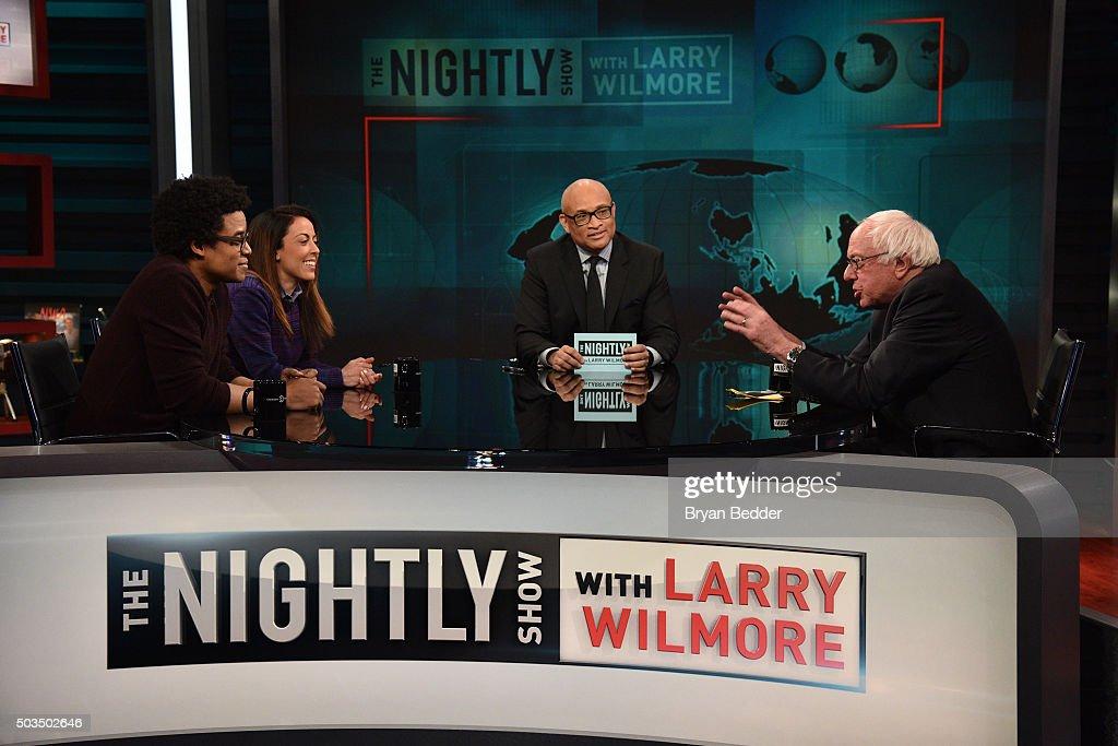 'Nightly Show' contributors Jordan Carlos, Grace Parra, Host Larry Wilmore and Senator Bernie Sanders speak on 'The Nightly Show With Larry Wilmore' on January 5, 2016 in New York City.