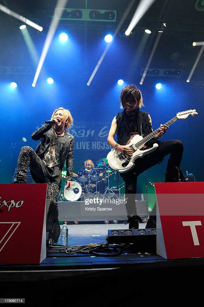 Nightmare performs during the JE live house 'TOYOTA x STUDIO4AC meets ANA PES' concert during the Japan Expo at Paris-nord Villepinte Exhibition Center on July 6, 2013 in Paris, France.