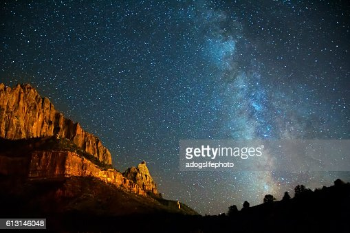 Nightscape Milky Way in Zion Canyon : Stock Photo