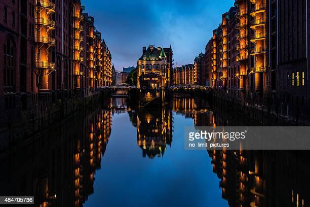 nighttime at Speicherstadt in  Hamburg