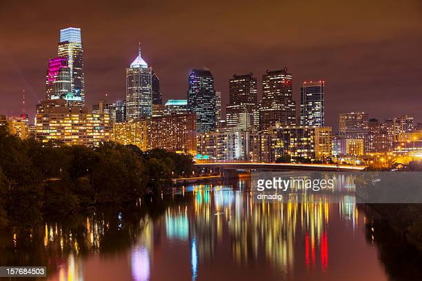Nighttime Cityscape of Philadelphia with Lights Reflecting in Schuylkill River