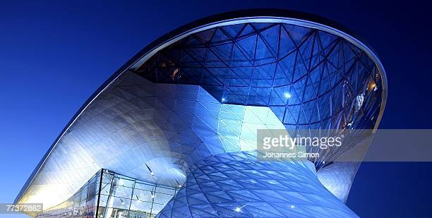 Nighttime exterior view of the BMW World seen after the opening ceremony on October 17 2007 in Munich Germany BMW World is a representative...