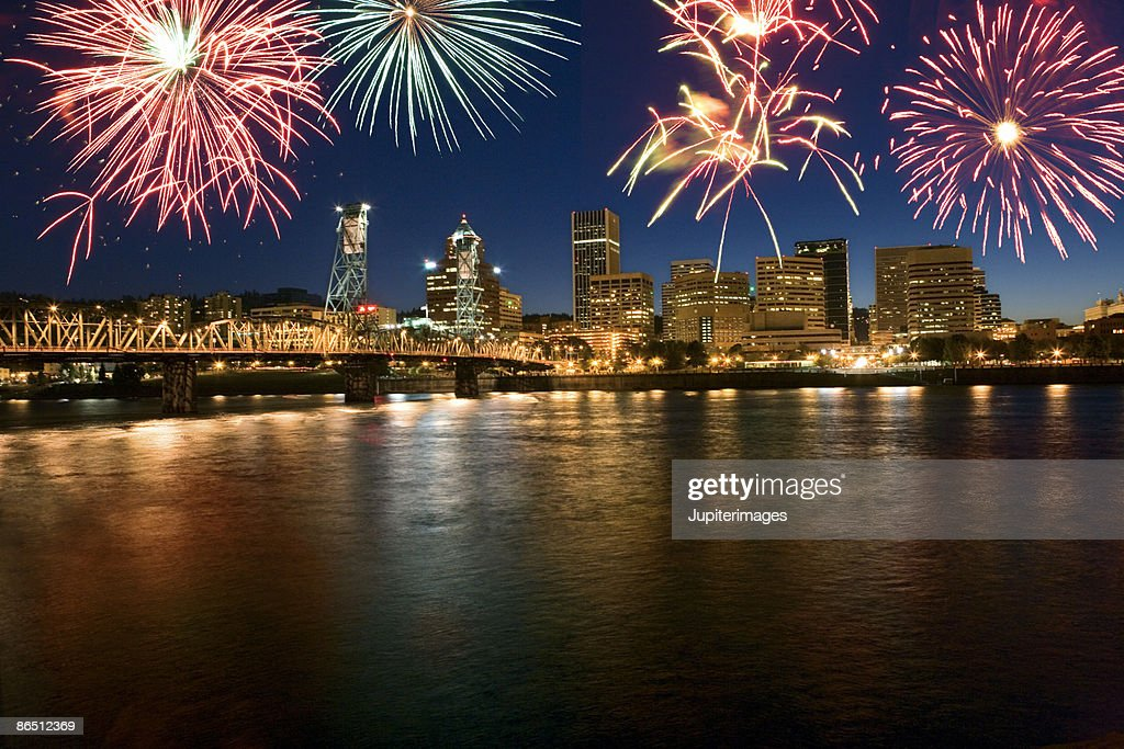 Nighttime fireworks over Portland, Oregon