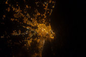 Nighttime image of Valencia on the Mediterranean coast of Spain.