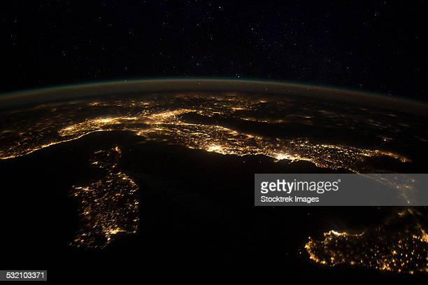 Nighttime panorama showing city lights of Europe.