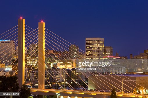Nighttime skyline bridge view on Tacoma, Washington