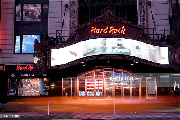 Nighttime timelapse view of the Hard Rock Cafe Manhattan's Times Square New York New York January 9 2013 Located in the Paramount Building it was the...
