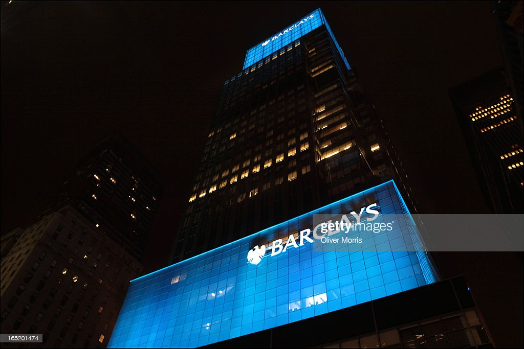 Nighttime view of Barclays Bank New York New York January 8 2013 Barclays acquired the building in September 2008 as a part of a liquidation of...
