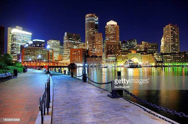Nighttime view of Boston from the Riverwalk
