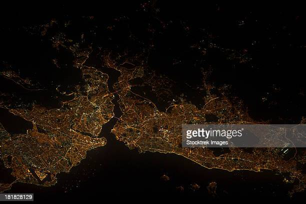 A nighttime view of Istanbul, Turkey.