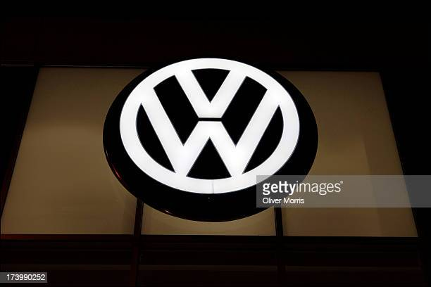 A nighttime view of the logo for Volkswagen of Manhattan Midtown West Manhattan New York May 27 2013