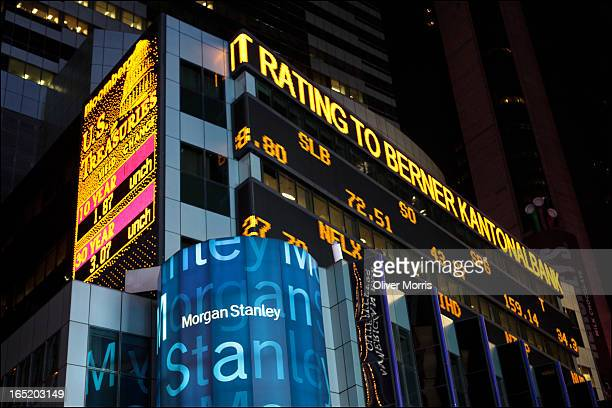 Nighttime view of the neon financial ticker on the Morgan Stanley headquarters New York New York January 9 2013