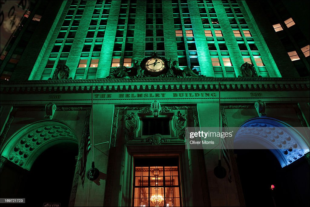 Nighttime view of the Waldorf Astoria Hotel and the Helmsley Building lighted in green and blue by a energy efficient colorchanging...