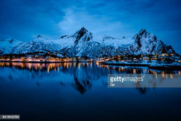 Nighttime view over Svolvaer in the Lofoten archipel, Norway