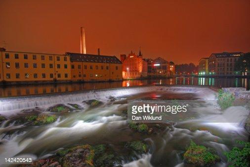 Nighttime waterfall in Norrkoping