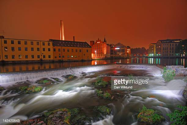 Nighttime waterfall in Norrkoping