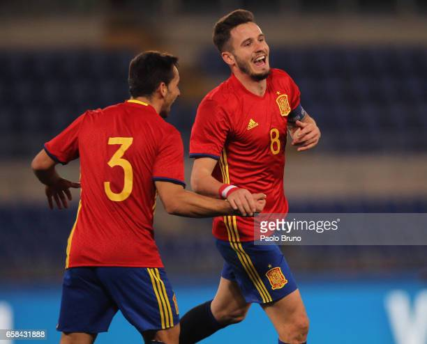 Niguez Saul with his teammate Castro Jonathan of Spain U21 celebrates after scoring the opening during the international friendly match between Italy...