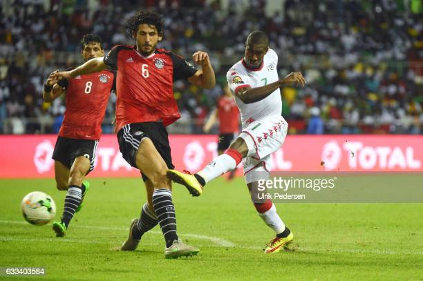 Niguimbe Prejuce Nakoulma of Burkina and Ahmed Elsayed Ali Elsayed Hegazi of Egypt during the African Nations Cup Semi Final match between Burkina...