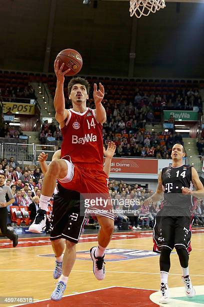 Nihad Djedovic of Muenchen scores a point during the Beko Basketball Bundesliga match between FC Bayern Muenchen and Telekom Baskets Bonn at AudiDome...