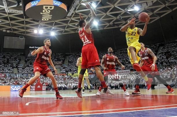 Nihad Djedovic of Munich und Gerald Robinson of Berlin battle for the ball during the easyCredit BBL Basketball Bundesliga match between FC Bayern...