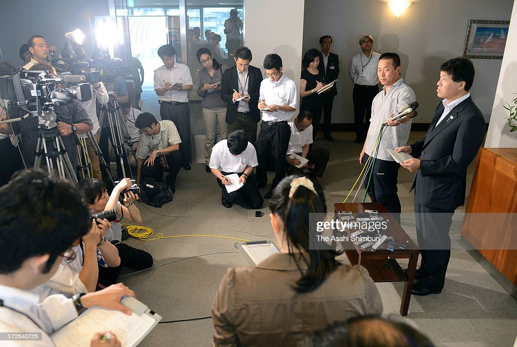 Niigata Prefecture Governor Hirohiko Izumida speaks to media reporters after Tokyo Electric Power Co's decision to apply for the restart two reactors of their Kashiwazaki Kariwa Nuclear Power Plant at Niigata Prefecture Headquarterson July 2, 2013 in Niigata, Japan. TEPCO decided to apply for permission to restart reactors as soon as possible after new safety requirements, approved by the Nuclear Regulation Authority (NRA), take effect on July 8, to improve their financial situation.