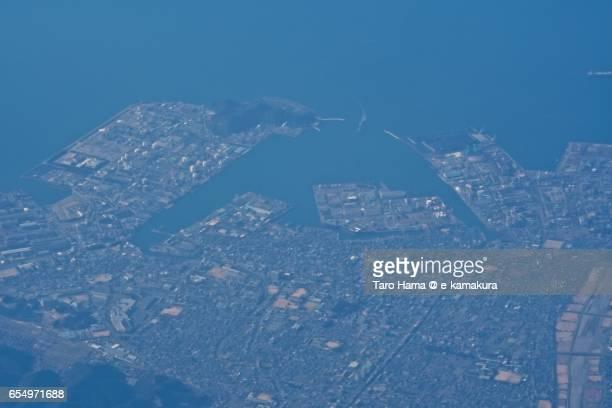 Niihama city and Seto Inland Sea, daytime aerial view from airplane
