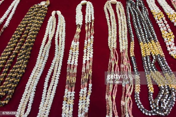 Niihau shell necklaces for sale at Merrie Monarch Festival in Hilo, Hawaii