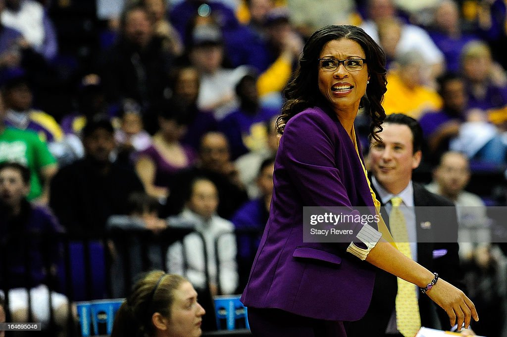 Niiki Caldwell, head coach of the LSU Tigers reacts to an officials call during the second round of the NCAA Tournament against the Penn State Lady Lions at the Pete Maravich Assembly Center on March 26, 2013 in Baton Rouge, Louisiana.