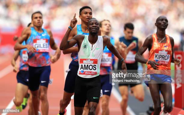 Nijel Amos of Botswana wins the mens 800m final during the Muller Anniversary Games at London Stadium on July 9 2017 in London England