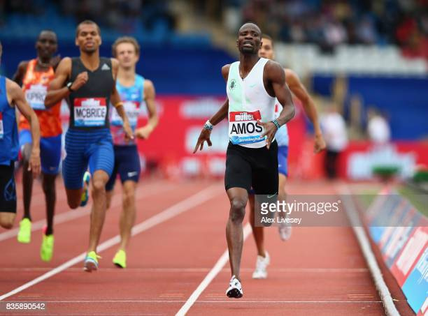 Nijel Amos of Botswana wins the Men's 800m race during the Muller Grand Prix Birmingham meeting at Alexander Stadium on August 20 2017 in Birmingham...