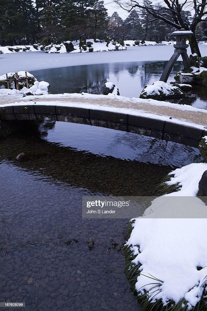 Nijibashi Bridge at Kenrokuen the 'Six Attributes Garden' is one of the Three Great Gardens of Japan along with Kairakuen and Korakuen