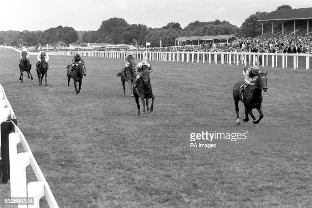 Nijinsky ridden by Lester Piggott leads the field Blkeney ridden by G Lewis and Crepellana ridden by Jean Deforge in third