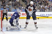 Nik Antropov of the Atlanta Thrashers is stopped in close by Jonas Gustavsson of the Toronto Maple Leafs March 30 2010 at the Air Canada Centre in...