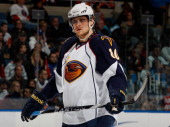 Nik Antropov of the Atlanta Thrashers looks on against the New York Islanders on March 24 2011 at Nassau Coliseum in Uniondale New York The Thrashers...