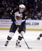 Nik Antropov of the Atlanta Thrashers skates against the Tampa Bay Lightning at St Pete Times Forum on January 23 2011 in Tampa Florida The Lightning...