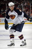 Nik Antropov of the Atlanta Thrashers skates during the game against the New Jersey Devils at the Prudential Center on October 16 2009 in Newark New...