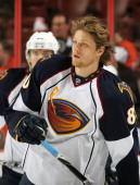 Nik Antropov of the Atlanta Thrashers skates during warm ups against the Philadelphia Flyers on March 12 2011 at the Wells Fargo Center in...