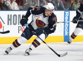 Nik Antropov of the Atlanta Thrashers skates in a game against the Toronto Maple Leafs on February 7 2011 at the Air Canada Centre in Toronto Canada...
