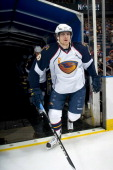 Nik Antropov of the Atlanta Thrashers steps on to the ice before a game against the Edmonton Oilers at Rexall Place on February 19 2011 in Edmonton...