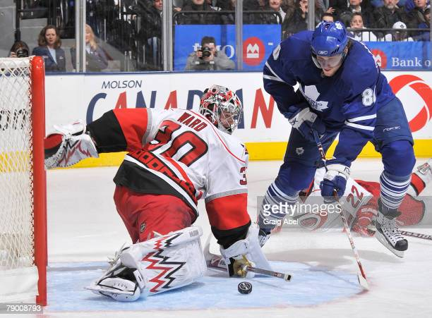 Nik Antropov of the Toronto Maple Leafs has a shot stopped in close by Cam Ward of the Carolina Hurricanes January 15 2008 at the Air Canada Centre...